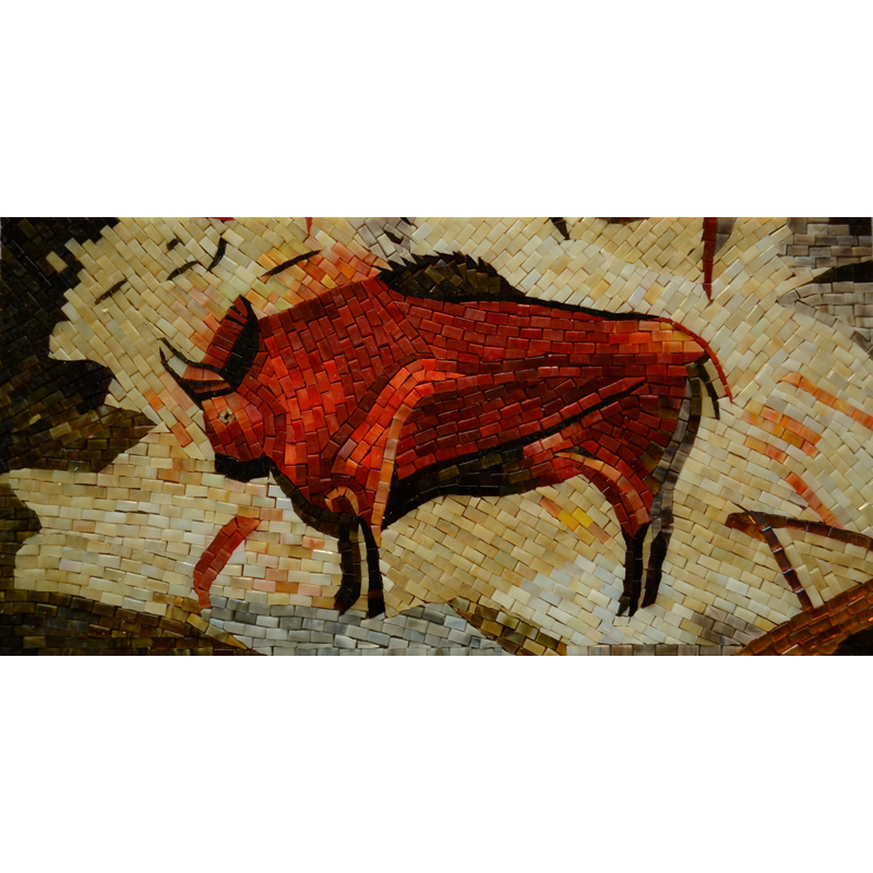 "Bison Custom Handcut Glass Mural, 12"" x 24"", 1 mural"